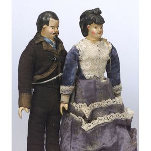 Early Composition Male and Female Shoulder Head Dolls