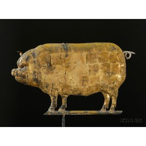 Molded and Gilded Copper Pig Weather Vane