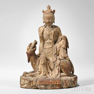 Polychrome Giltwood Figure of a Seated Guanyin