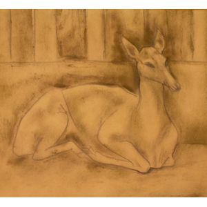 Unframed School of Diego Rivera (Mexican, 1886-1957) Pencil and Charcoal   Drawing of a Deer
