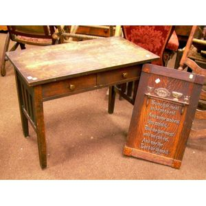 Childs Arts & Crafts Oak Two-Drawer Desk and an Oak Motto Panel.