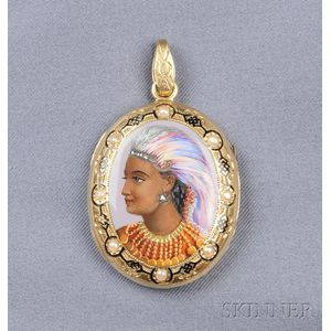 Antique 18kt Gold, Enamel, Diamond, and Seed Pearl Locket
