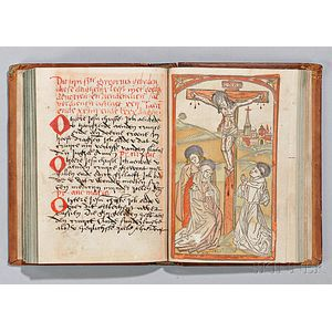 Dutch Manuscript Prayer Book with Three Hand-colored Woodcuts, Late 15th Century.