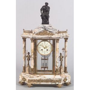 French Marble, Brass and Bronze-mounted Mantel Clock