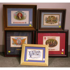 Five Framed 1930s-1940s Chromolithograph Cigar Box Labels