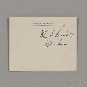 Kennedy, John F. (1917-1963) Signed Senate Card.