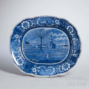 Staffordshire Historical Blue Transfer-decorated Winter View of Pittsfield, Massachusetts, Platter