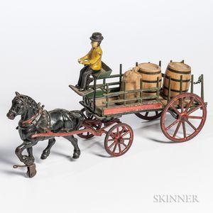 Cast Iron Horse-drawn Dray Wagon Pull Toy