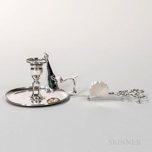 George III Sterling Silver Chamberstick and Snuffer