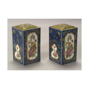 Pair of Chinese Porcelain Rose Canton Bough Pots.