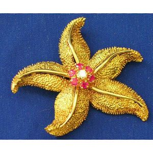 18kt Gold, Ruby and Diamond Starfish Brooch.