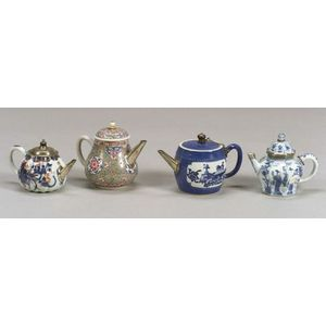 Four Small Chinese Export Porcelain and Silver Make-do Teapots