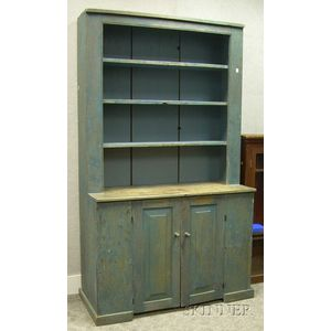 Blue-painted Wooden Step-back Cupboard
