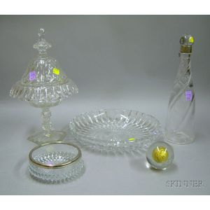 Five Assorted Colorless Glass Articles