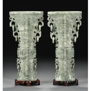 Pair of Hardstone Vases