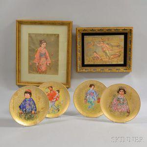 Four Rosenthal Edna Hibel Porcelain Plates and Two Framed Works.     Estimate $20-200