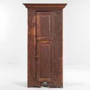 Tall Red-painted Paneled Two-door Cupboard