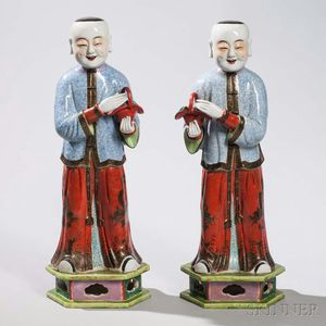 Pair of Enameled Porcelain Figures of Men