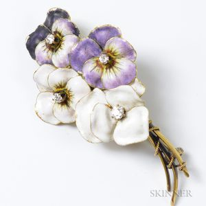 Enameled and Diamond Pansy Bouquet Brooch