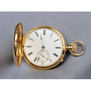 Antique 18kt Gold Hunting Case Pocket Watch, Eugene LeCoultre