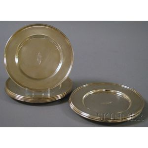 Set of Eight Sterling Silver Bread and Butter Plates