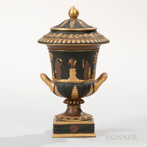 Wedgwood Gilded and Bronzed Black Basalt Vase and Cover