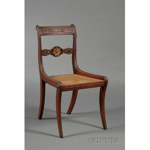 Regency Brass-mounted and Caned Side Chair