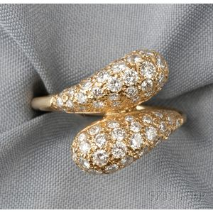 18kt Gold and Diamond Bypass Ring