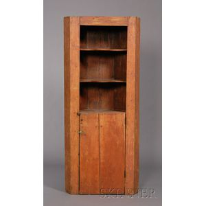 Diminutive Red-stained Pine Corner Cupboard