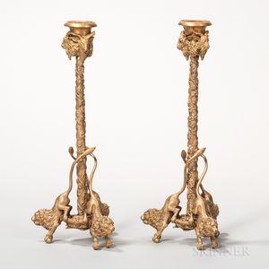 Pair of Dore Bronze Figural Candlesticks