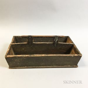 Brown-painted Pine Cutlery Tray
