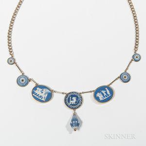 Assembled Dark Blue Jasper-mounted Gold Necklace