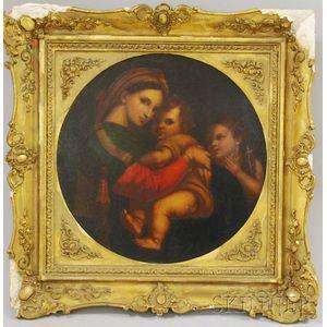 Framed Oil on Tin Madonna Della Sedia