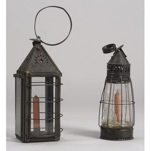 Two Tin and Glass Hanging Lanterns
