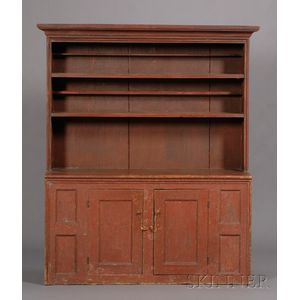 Red-painted Pine Step-back Cupboard