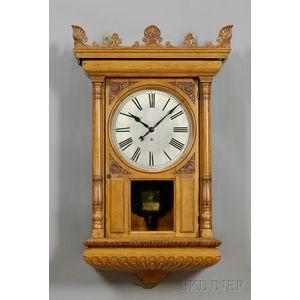 Monumental Oak Wall Clock by Tiffany