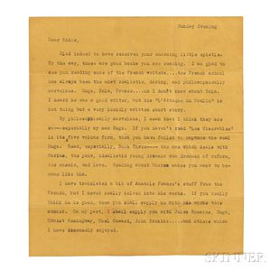 Kerouac, Jack (1922-1969) Typed Letter, with Manuscript Additions, [March 1940.]