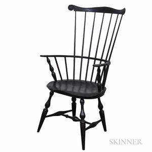 Eldred Wheeler Black-painted Comb-back Windsor Armchair