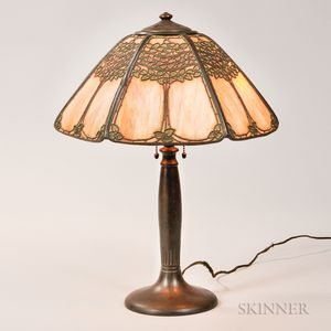 Handel Slag Glass Table Lamp and Shade