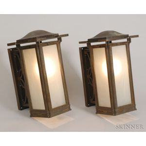 Pair of Prairie School Architectural Wall Lanterns