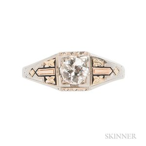 Art Deco 18kt Bicolor Gold and Diamond Ring
