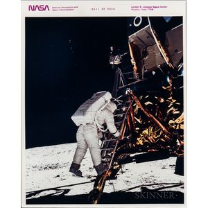 Apollo 11, Buzz Aldrin Descends from Lunar Module Eagle to the Surface of the Moon, July 11, 1969.