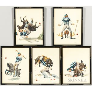 Charles-Fernand de Condamy (French, 1855-c. 1913)      Five Framed Polo Player Caricatures