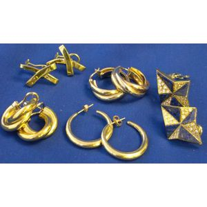 Five Pairs of Gold Earrings.