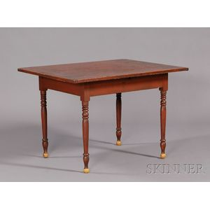 Red-painted Pine and Maple Kitchen Table