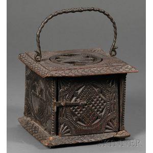 Frisian Carved Oak and Brass Footwarmer