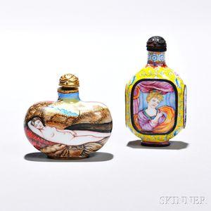 Two Export Enameled Metal Snuff Bottles