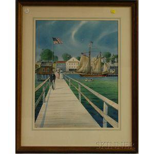 Earle G. Barlow (American, 20th Century)      Walking Along the Boardwalk