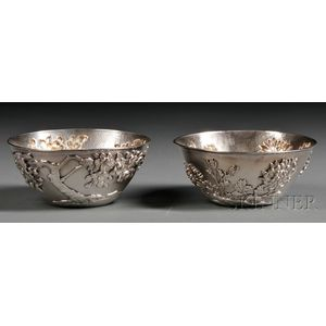 Pair of Japanese Silver Side Bowls