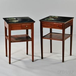 Pair of Louis Philippe Marble-Top Mahogany Planter Tables
